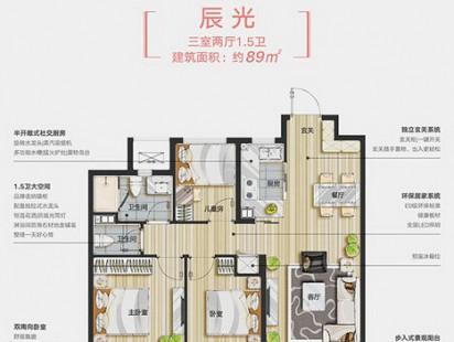 万科城市之光辰光3室2厅2卫户型