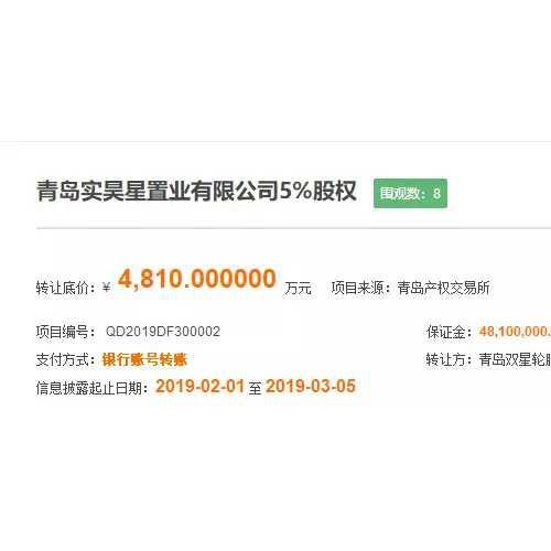 青岛实昊星置业股权转让 双星轮胎退出两河路地块开发