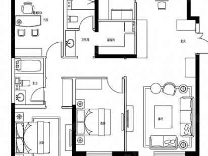 建邦垅锦墅C-3室2厅2卫户型