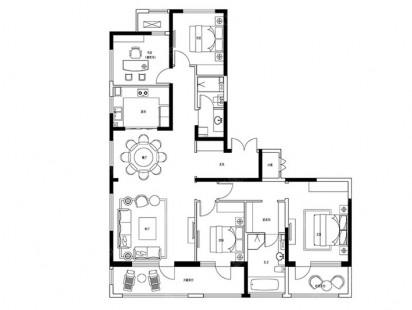 建邦垅锦墅A-4室2厅2卫户型