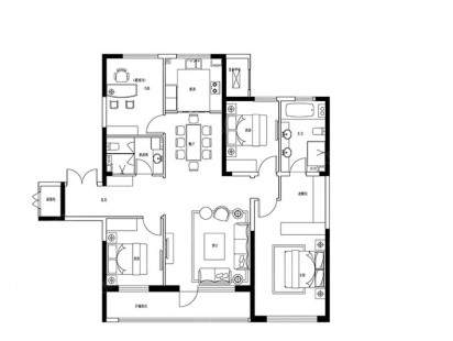 建邦垅锦墅B-4室2厅2卫户型