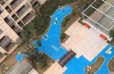 长沙北辰中央公园塑胶人工湖引热议 铺蓝色塑胶当做湖