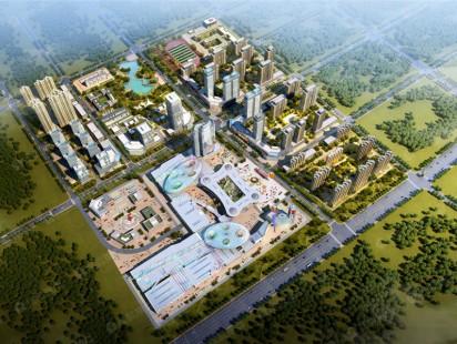 众安青岛新城市鸟瞰图