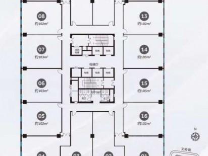 资源博雅广场3#楼3-19层户型