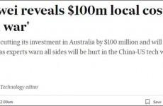 华为已终止1亿澳元研发投资 将继续在澳大利亚裁员