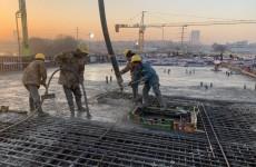 临沂西中环大山路立交工程主线桥箱梁混凝土浇筑施工完成